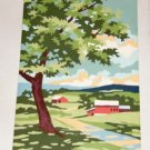 Farm Scene Handpainted Picture, Not Framed,Very Pretty