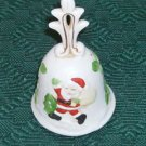 Santa & His Bag of Toys Bell, Ornate Top,Green Leaves