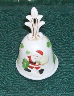 Santa & His Bag of Toys Bell, Ornate Top,Green Leaves