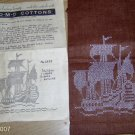 VINTAGE SHIP KITCHEN TOWELS ON BROWN LINEN