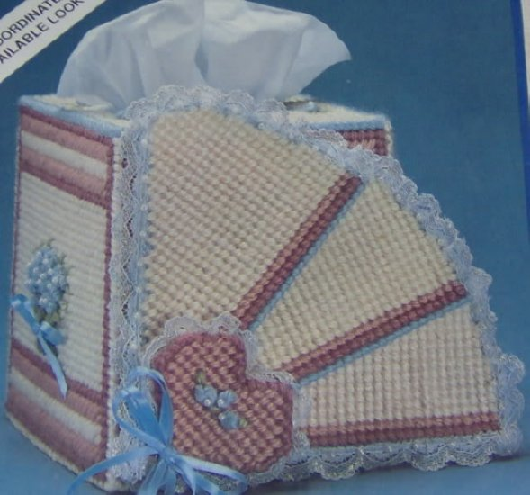 BEAUTIFUL FAN TISSUE BOX COVER FROM BERNAT - SO LOVELY