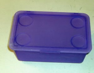 Lot of 4 Small Purple File Boxes, Stackable