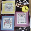 2 NICE SAMPLERS - FLOWER HEART WREATH/DOVES & FLOWERS
