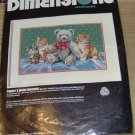 TEDDY'S NEW FRIENDS -NICE NEEDLEPOINT PICTURE - VINTAGE