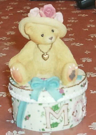 Cherished Teddies Mom Trinket Box w/Necklace-Dated 2001