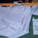 BLUE CHECKERED 3 PC TOTE BAG,COSMETIC BAG,EYEGLASS CASE