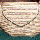 GOLD AND BROWN STRAW PURSE - NEW - VERY PRETTY & ROOMY