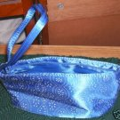 Blue Eyelet Design Handbag, Silk, New, Pretty,Small