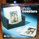 PHOTO COASTERS NEW IN BOX GLASS WITH HOLDER PRETTY