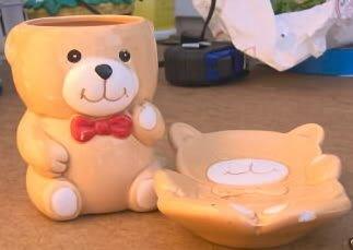 CUTE BEAR GLASS AND SOAP DISH