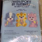 NEEDLEPOINT BY NUMBER PUPPY,TEDDY,KITTY - CUTE TRIO