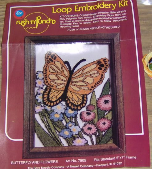 BUTTERFLY AND FLOWERS LOOP EMBROIDERY FROM BOYE NEEDLE