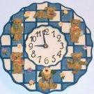 Bear Clock, Blue Checked Encircled With Bears,Very Cute