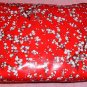 3-Pc Floral Cosmetic Bag Set,2 Red & 1 White Zip Bags