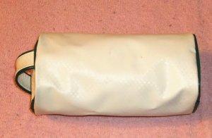 White Barrel Bag w/ Green Trim, Log Style,From Avon
