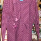 Mauve Striped Shirt W/ Flower,Very Pretty,Long Sleeve