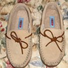 Tan Suede Moccasins from Moonbeam,Size 7M,Leather Upper,Rubber Sole,Medium Width