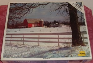 1000 Piece Fully Interlocking Puzzle, Complete,Michigan Winter,From Whitman,Open