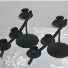 Black Metal Candlesticks, Holds 3 Tapers Each, Pretty on Fireplace Mantel/Table