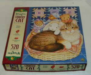 Country Cat Puzzle, Kitten,Basket,Teddy Bear,520 Pieces,Golden, Complete, Open