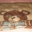 Teddy Bear Fleece Blanket, From Virteks, Made In Yugoslavia, Yellow & Brown,Cute