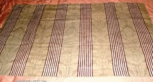 Striped with Leaves Pillow Sham, Green & Burgundy, Springs King Size Cotton Poly