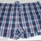 Route 66 Blue & Burgundy Plaid Sleep Shorts, Flower Buttons, Size M, 100% Cotton