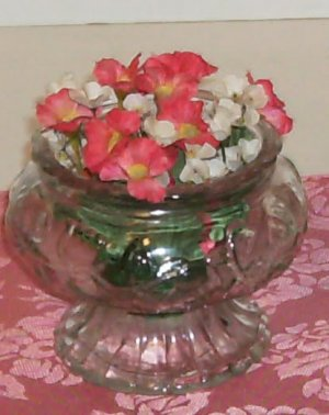 Flower Bowl With Leaf Design, Pedastal, Scalloped Top, Glass, Includes Flowers