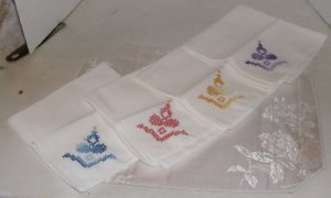 Pretty Set of 4 Hand Embroidered Napkins, Medallion Floral Design, Multicolored