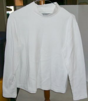 Concept Clothing White Shirt, Mock Turtleneck, 100 % Cotton, Long Sleeves