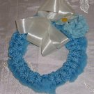 "Blue Yarn Wreath, White Bow & Carnations, Handmade, 6 1/2"" Diameter, Very Pretty"