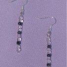 Handmade Pink and Charcoal Glass Bead Dangle Earrings