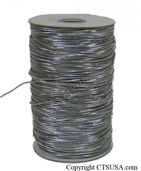 "Silver Metallic Elastic Cord/String 1/16"" 288 yards NEW"