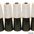 10 Black & White 6000YDS Spool/Cone Sewing Thread *NEW*