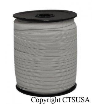 """White Knitted Elastic 3/8"""" Inch Wide 144 YDS Roll"""