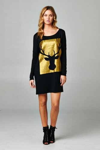 CIA MOOSE OVERSIZED TUNIC TOP - BLACK + GOLD LARGE