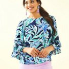 NWT $118 Small LILLY PULITZER LILEEZE Francis Top High Tide Navy Ready Set Gecko