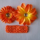 Orange Flower Clips with Matching Headband