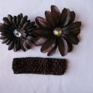 Chocolate Brown Flower Clips with Matching Headband