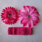 Hot Pink Flowers with Matching Headband