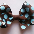 Hair Bow--Chocolate Brown with Light Blue Polka Dots