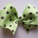 Hair Bow--Mint Green with Brown Polka Dots