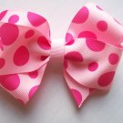 Hair Bow--Light Pink with Hot Pink Polka Dots--