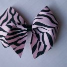 FUNKY ZEBRA--Hair Bow--Pink and Black Zebra Print