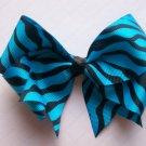 Hair Bow--Blue and Black Zebra Design--SUPER CUTE