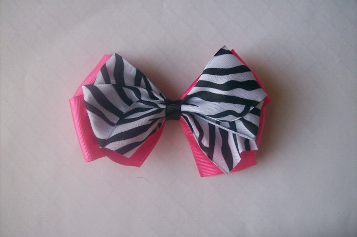 Wild Child--Pink and Zebra Boutique Hair Bow