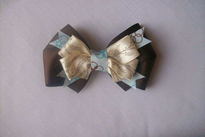 Blue and Brown Boutique Hair Bow