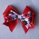 Red with Flowers--Hair Bow--VERY PRETTY