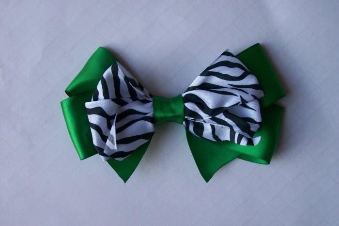 Green and Zebra Print--Hair Bow--