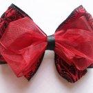 Hair Bow--Scarlet Red with Black Design--VERY ELEGANT